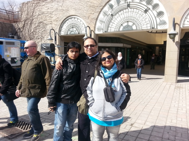 In front of the Niagara Falls, on our fourth visit in March, 2013
